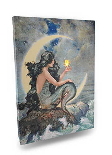 Ohio Wholesale Radiance Lighted Moon Mermaid Canvas Wall Art, from our Water Collection by Ohio Wholesale