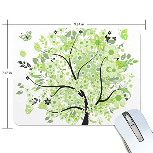 MALPLENA Green Spring Tree Clipart Picture Mouse Pad Premium-Textured Mouse Mat, Non-Slip Rubber Base Mouse Pad for Laptop, Computer and PC