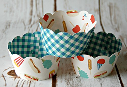 Fair Food Cupcake Wrappers, Reversible Cake Wraps, Snack Foods Cupcake Decoration (set of 6)