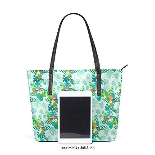 COOSUN Papageien auf tropischen Blättern PU Leder Schultertasche Handtasche und Handtaschen Tasche für Frauen