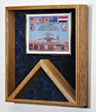 Military Shadow Box 3x5 Flag & Certificate Display Case - (Blue Velvet) other velvet colors available