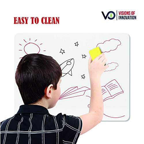 Double-Sided Mini White Boards Pack | Includes 10 Small Multi-Purpose Dry-Erase Lapboards, 10 Portable Felt Erasers, 10 Easy to Erase Black & Red Markers for Kids & Adults Photo #7