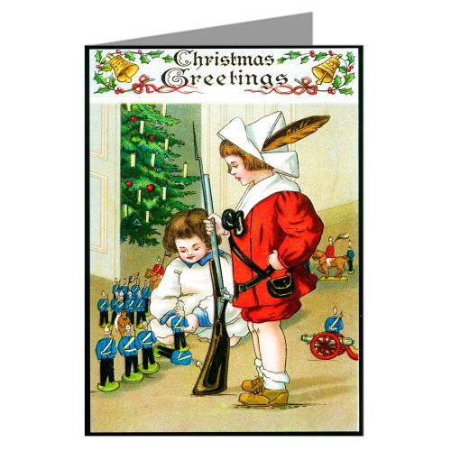 (Classic Vintage Christmas Boys Playing with Toy Soldiers Victorian Holiday Note Cards Boxed)