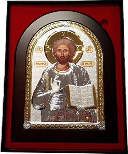 (Jesus Christ Pantocrator Silver plated Byzantine Icon - Large)