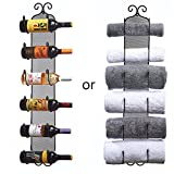 Wine / Towel Rack Wall Mounted - PREMIUM QUALITY, Decorative Metal Decor Style Design With Strong Iron Mesh Backing ( Holds 6 Bottles )