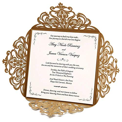 (WISHMADE Laser Cut Wedding Invitations Cards with Square Lace Sleeve Engagement Cards for Birthday Party (Gold))
