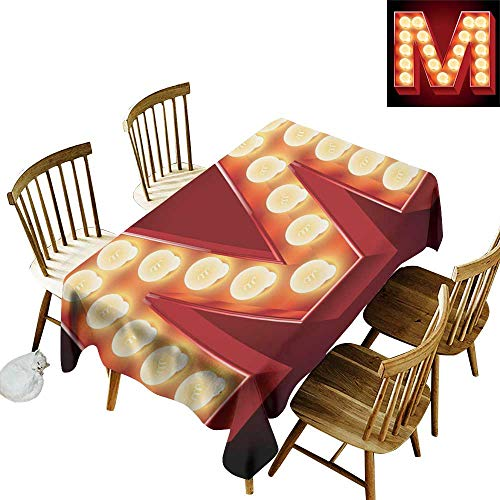 W Machine Sky Polyester Tablecloth Letter M Vintage Alphabet Collection of Old Movie Theaters Casinos Retro Type W54 xL90 for Family Dinners,Parties,Everyday -