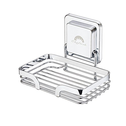 Cheftick Soap Holder Strong Stainless Steel Dish Wall Mounted, Removable and Reusable, Soap Sponge Holder for Bathroom and Kitchen, No Nail No Drilling, Silver