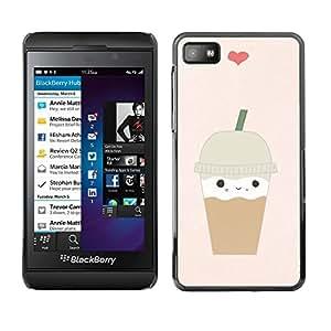 "For Blackberry Z10 Case , Helado de café Corazón lindo de Brown"" - Diseño Patrón Teléfono Caso Cubierta Case Bumper Duro Protección Case Cover Funda"