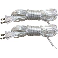 Royal Designs Lamp Cord with Molded Plug, Clear Silver, 12 feet, SPT-2, Set of 2 (CO-1001-SL-12-2)