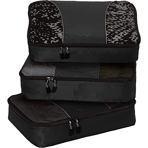 eBags Medium Classic Packing Cubes for Travel - 3pc Set - (Black) (As Things Change They Stay The Same)