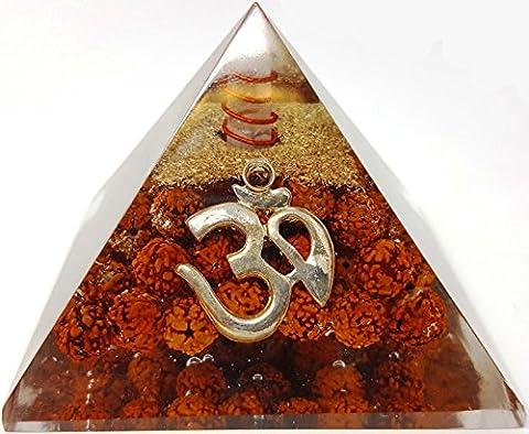 Rudraksha Seed Silver Aum om Crystal Orgone Pyramid / Includes 4 Crystal Quartz Energy Points / EMF Protection Meditation Yoga Energy - Stone Copper Fountain