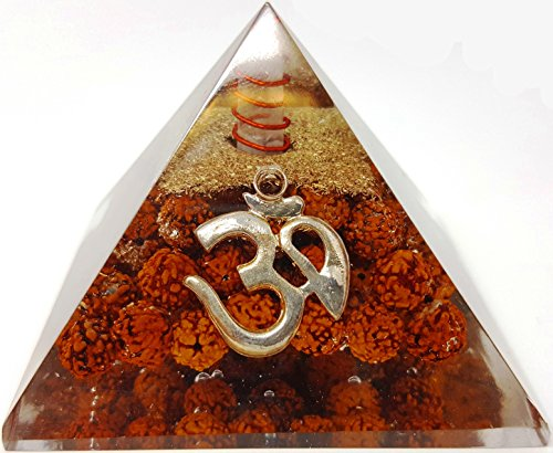 Rudraksha Seed Silver Aum om Crystal Orgone Pyramid / Includes 4 Crystal Quartz Energy Points / EMF Protection Meditation Yoga Energy Generator
