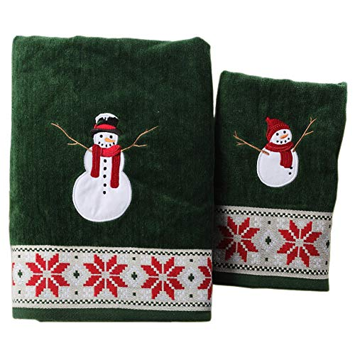 LifeWheel Christmas Snowman Cartoon Cotton Towel Set with 1 Bath and 1 Hand Towels