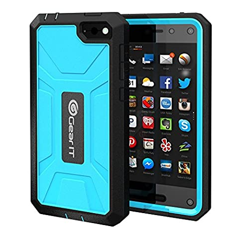 Fire Phone Case, GearIT Amazon Fire phone Case TPU Silicone Hybrid Rugged Series with Front Cover and Build-in Screen Protector, (Fire Phone Screen Protector Moshi)