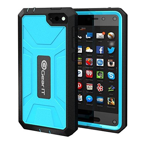 Fire Phone Case, GearIT Amazon Fire phone Case TPU Silicone Hybrid Rugged Series with Front Cover and Build-in Screen Protector, Blue
