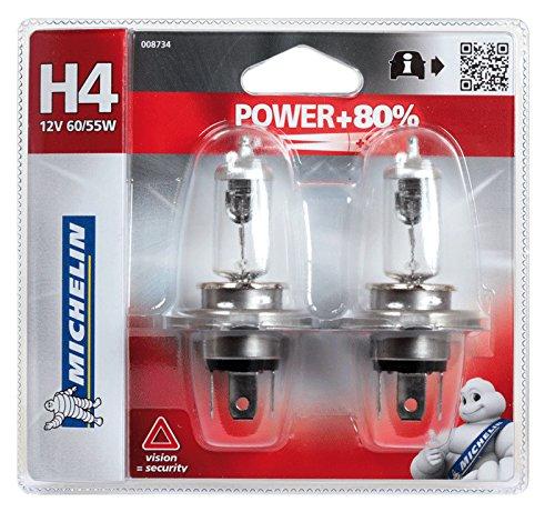 60//55 W Michelin 8734 Lampada Auto 2 H4 12 V Power +80/%