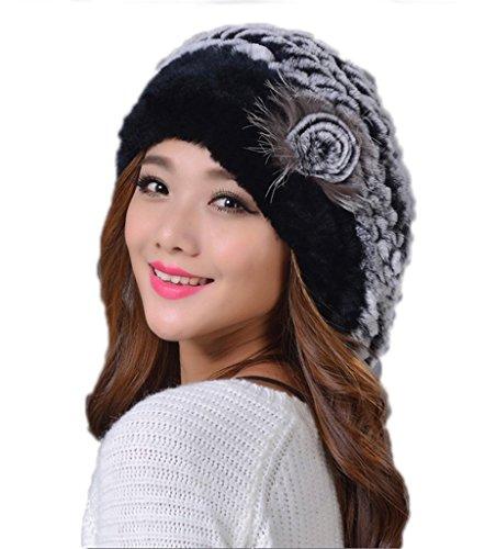 YRLOVE Fashion Ladies Real Rex Rabbit Fur Kintted Winter Warm Beret Hat (Rabbit Hat Rex)