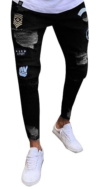 Amazon.com: xtsrkbg Pantalones vaqueros para hombre ...