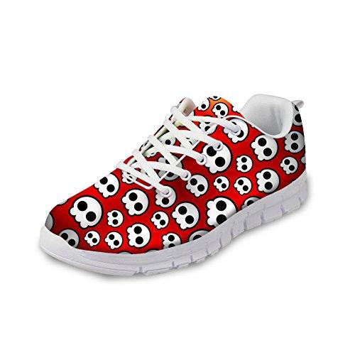 Pour U Conceptions Cool Crâne Impression Femmes Respirant Léger Lace Up Mode Baskets Confortables Chaussures De Course Rouge B