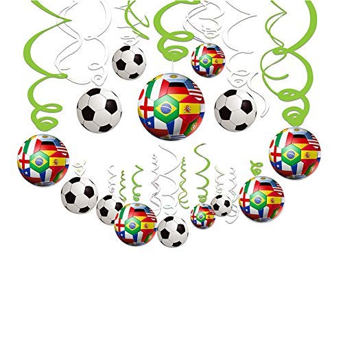 2019 AFC Asian Cup Party Swirl Decorations - 30 CT Hanging Swirl for Soccer Party Supplies Theme Birthday Party Decorations]()