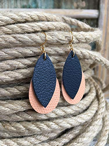 Teardrop and Leaf Small Leather Earrings in Coral Pink and Navy Blue