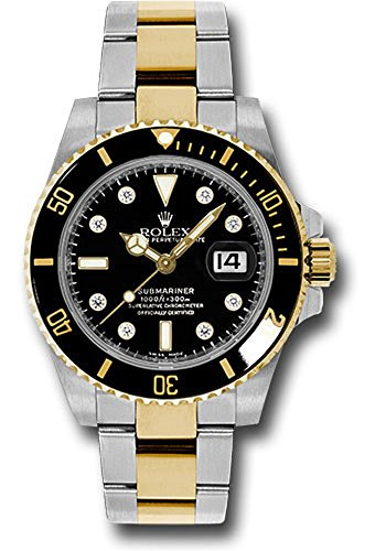 al 40MM Stainless Steel & 18K Yellow Gold Submariner Date With A Black Rotatable Cerarchrom Bezel And A Black Dial With Diamond Hour Markers. ()