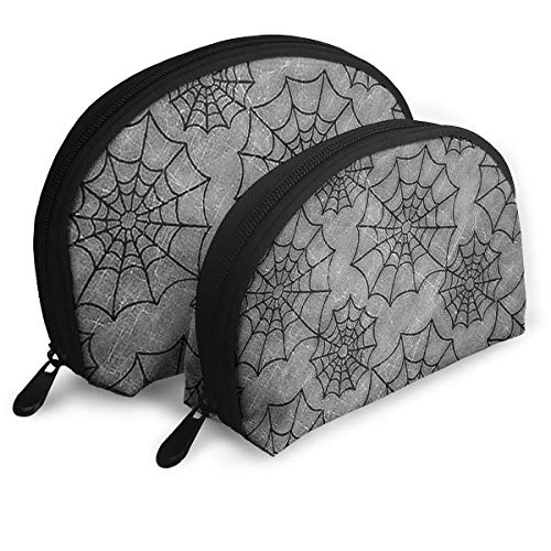 Cosmetic Bag Halloween Spider Web Travel Makeup Pencil Pen Case Multifunction Storage Portable - 2 Piece Set