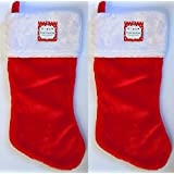 """18"""" Deluxe Plush Red Christmas Stocking (2 Pack) W/White Plush Cuff & Red Hanging Tag"""
