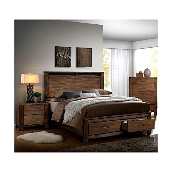 Furniture of America FOA Nangetti 3pc Antique Oak Wood Bedroom Set - Queen + Nightstand + Chest