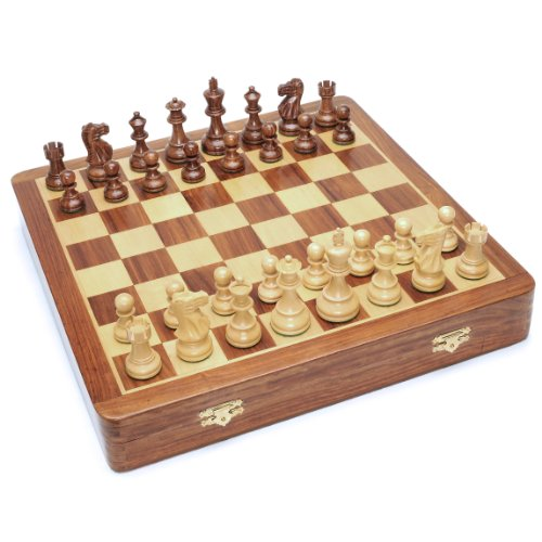 Kari Wood Chess Pieces - Deluxe English Style Chess Set in Wooden Case - Felt Storage for Handcarved Pieces & Wooden Board 17 in.