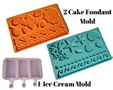 2 Pcs Cake Fondant Molds, Silicone Mold For Fondant, Lace Border Decorative Embossing Impression Mold Baroque Tools For Chocolate Sugarcraft Candy Plus 1 Pc Silicone Ice Cream Pop Mold With Lid