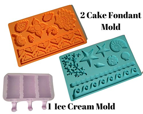 2 Pcs Cake Fondant Molds, Silicone Mold For Fondant, Lace Border Decorative Embossing Impression Mold Baroque Tools For Chocolate Sugarcraft Candy Plus 1 Pc Silicone Ice Cream Pop Mold With Lid by Freshline