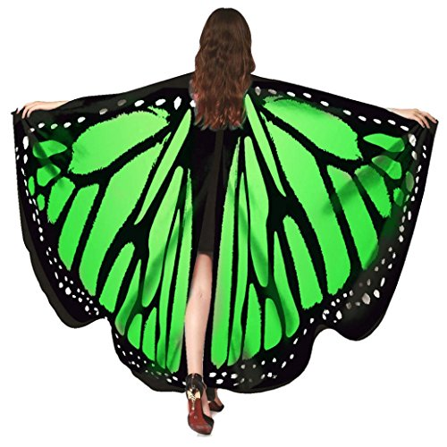 Pixie With Wings Costumes (KESEE☀☀Women Soft Butterfly Wings Adult Costume Accessory ,Ladies Colorful Nymph Pixie Poncho Costume Accessory,Two size: Adult and Kids (Green 1))