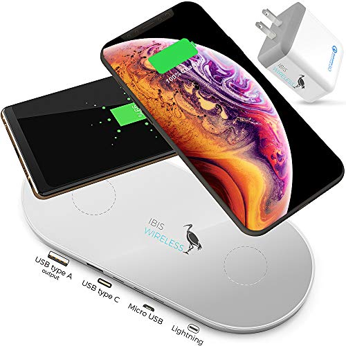 IBIS Wireless 9W Dual Wireless Charger Fast Charging Station 3 Multiple Devices at Once, Wireless Charging Pad, Certified Qi Wireless Charger USB C Phone Charger Pad for iPhone Xs AirPods Galaxy Buds