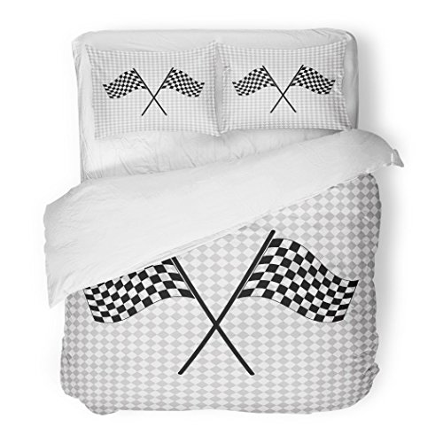 SanChic Duvet Cover Set Race Racing Flag Black Car Chequered Motor Cart Decorative Bedding Set with Pillow Case Twin Size