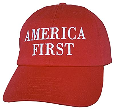 """America First"" SHIPS SAME DAY Hat MADE IN USA Trump Cap INAUGURATION - RED"