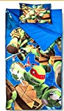 Sleeping Bags for Boys - Ninja Turtle Slumber Bag (45 Degrees Fahrenheit) and Pillow - 2 Piece Set