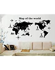 Map of the World Living Room Bedroom Background Decorative Painted PVC Wall Sticker