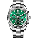 BUREI Men Chronograph Watch Green Analog Dial with Date Window Sapphire Crystal Lens Silver Stainless Steel Case and Band
