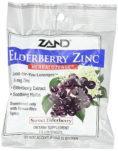 HerbaLozenge Elderberry Zinc | Good-for-You Lozenges for Dry Throats | No Corn Syrup, No Cane Sugar, No Colors | 15 Lozenge
