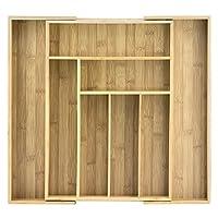 Organizador de cajones extensibles totalmente de bambú, 8 compartimentos, para cubiertos, utensilios y más