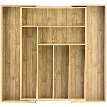 Totally Bamboo Expandable Drawer Organizer, 8 Compartments, 2 with Adjustable Dimensions, Beautiful and Durable Bamboo