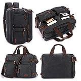 Hybrid Briefcase Backpack Messenger Bag with Strap for 15.6 Inch Laptop Black