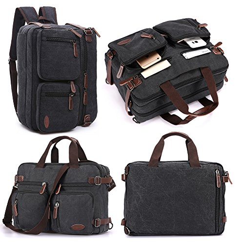 15.6 Inch Laptop Bag,Hybrid Multifunction Briefcase Messenger Bag Versatile Laptop Backpack with Shoulder Strap Canvas BookBag for Men,Women,College Students
