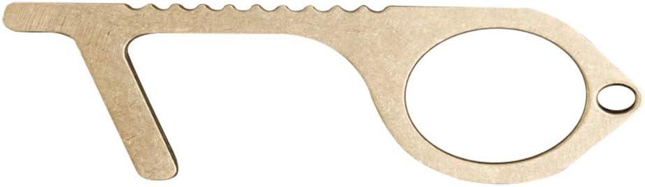 Easy to Carry Zero Touch Reusable Brass Handle Tools EDC Door Opener Avoid Contacting for Work 3 Pack Door Opening Zuolotte Contactless Door Opener etc Brass Key and Hook Elevator