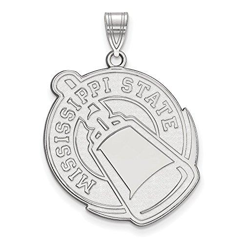 14k White Gold LogoArt Official Licensed Collegiate Mississippi State University (MSU) XL Pendant by Logo Art