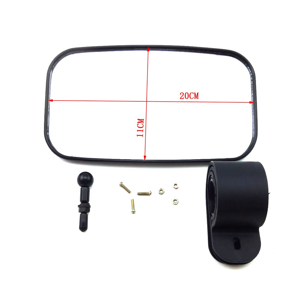 OKSTNO UTV Rear View Mirror for 1.5'' - 2'' Roll Cage with Shatter-Proof Tempered Glass Fits to Polaris Ranger,RZR Can Am Commander,Maverick Yamaha Viking,Rhino,Honda,Gator,Mirrors by OKSTNO (Image #6)