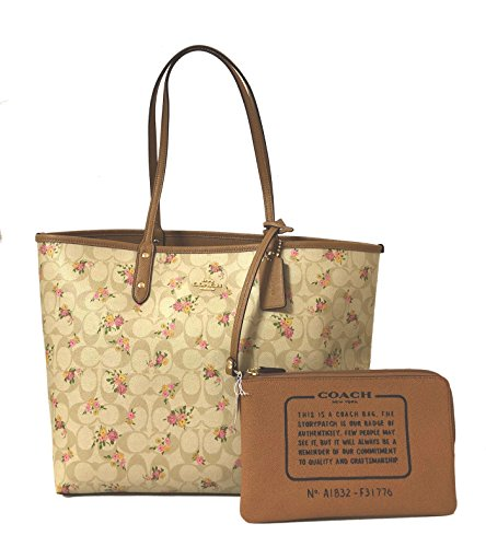 Im Tote Signature Multi Khaki City F36609 Reversible Light Coach PVC wOAqXYznI