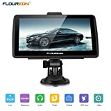 FLOUREON GPS Navigator 7.0 inch GPS Navigation System with Lifetime US/Canada/Mexico Maps Spoken Turn-By-Turn Directions Direct Access Driver Alerts For Car Vehicle Truck Taxi (Blue)